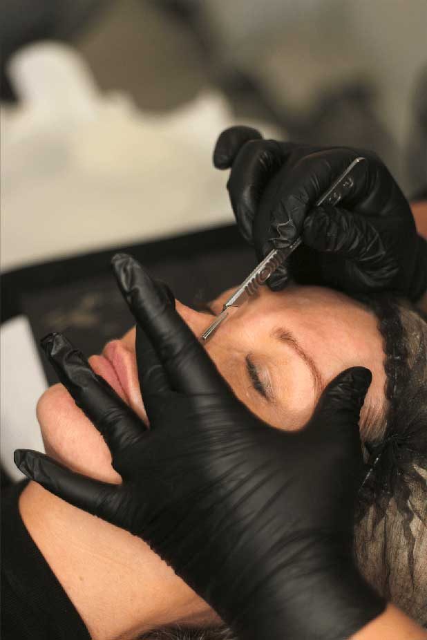 A Woman having Dermaplaning