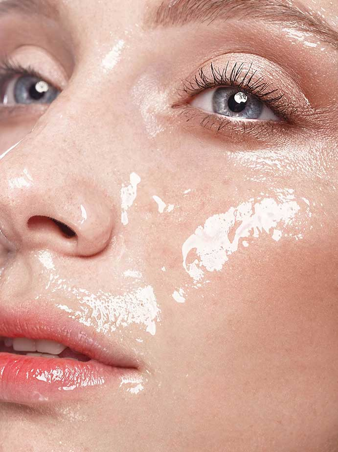 Woman's face with hyaluronic acid applied