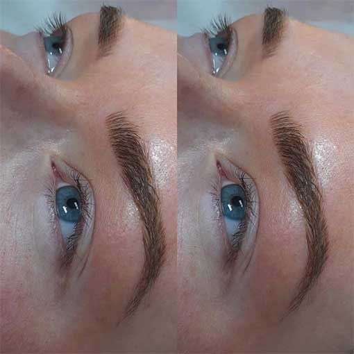 A client with microbladed eyebrows