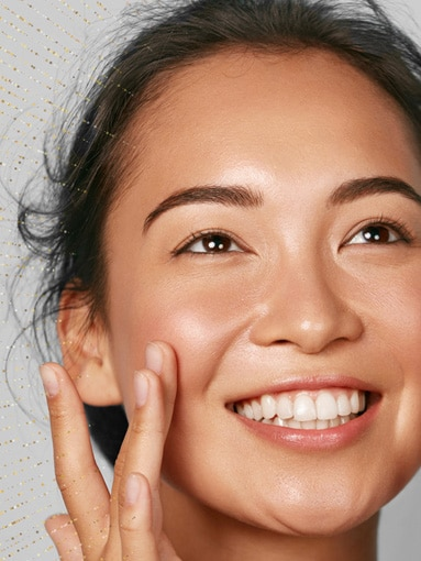 Asian Lady smiling with makeup